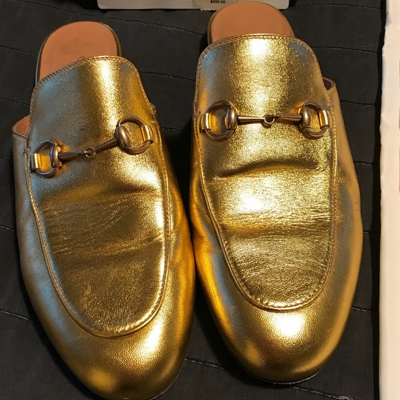 ac74c9574f4 Gucci Shoes - Gucci Princetown loafers mules gold 39 8.5 9